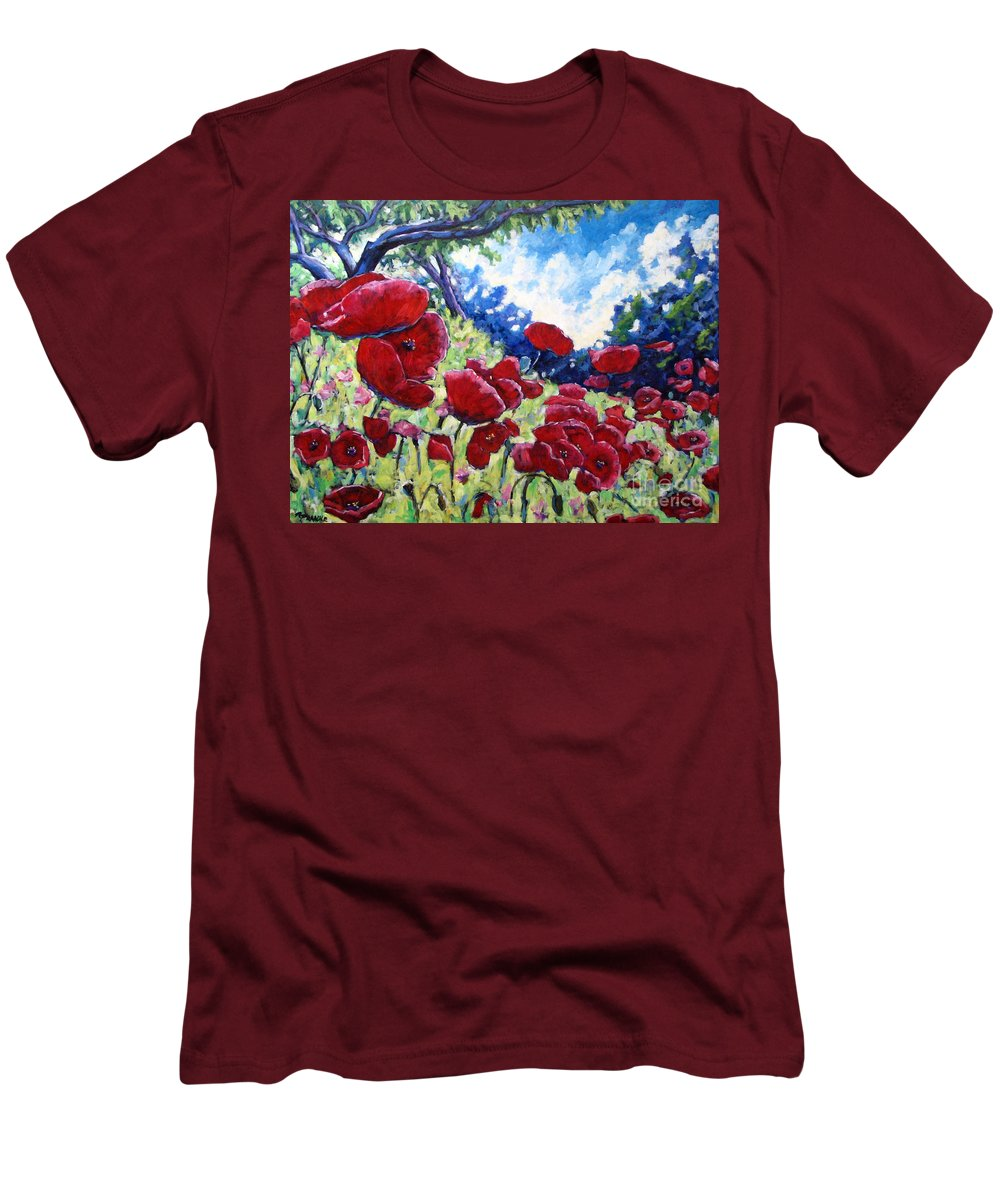 Poppies Men's T-Shirt (Athletic Fit) featuring the painting Field Of Poppies 02 by Richard T Pranke