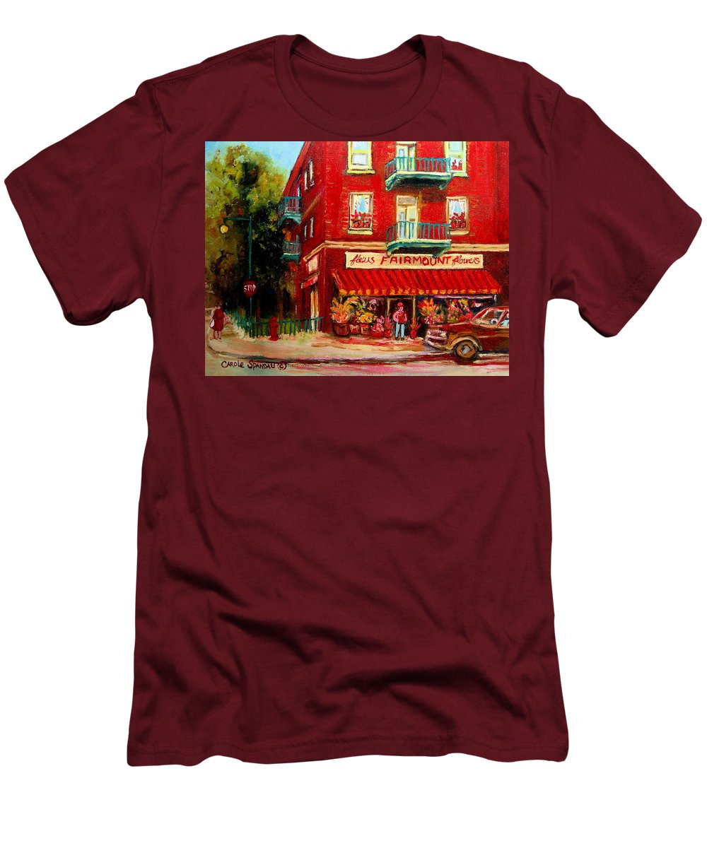Fairmount Street Men's T-Shirt (Athletic Fit) featuring the painting Flower Shop On The Corner by Carole Spandau