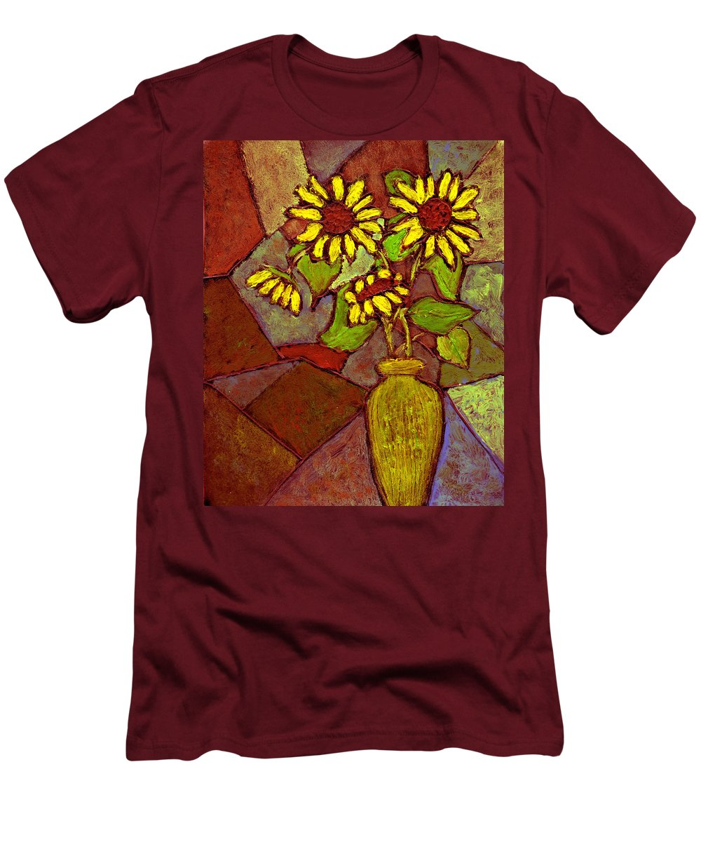 Sunflowers Men's T-Shirt (Athletic Fit) featuring the painting Flowers In Vase Altered by Wayne Potrafka