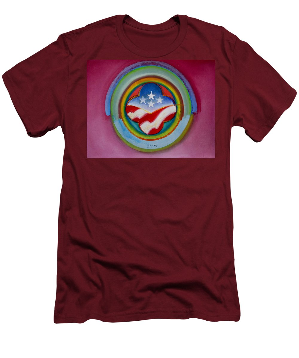 Button Men's T-Shirt (Athletic Fit) featuring the painting Four Star Button by Charles Stuart