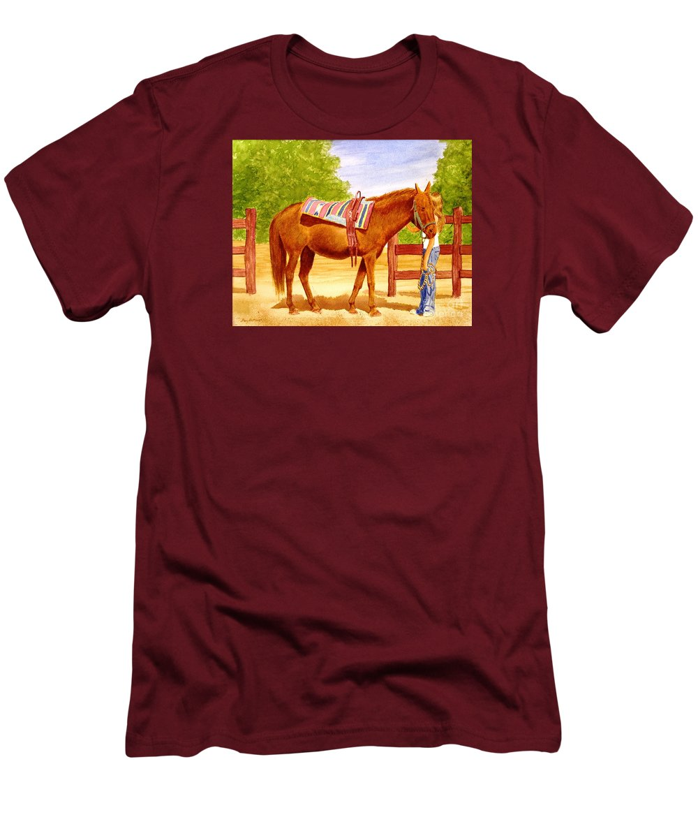 Equine Men's T-Shirt (Athletic Fit) featuring the painting Girl Talk by Stacy C Bottoms