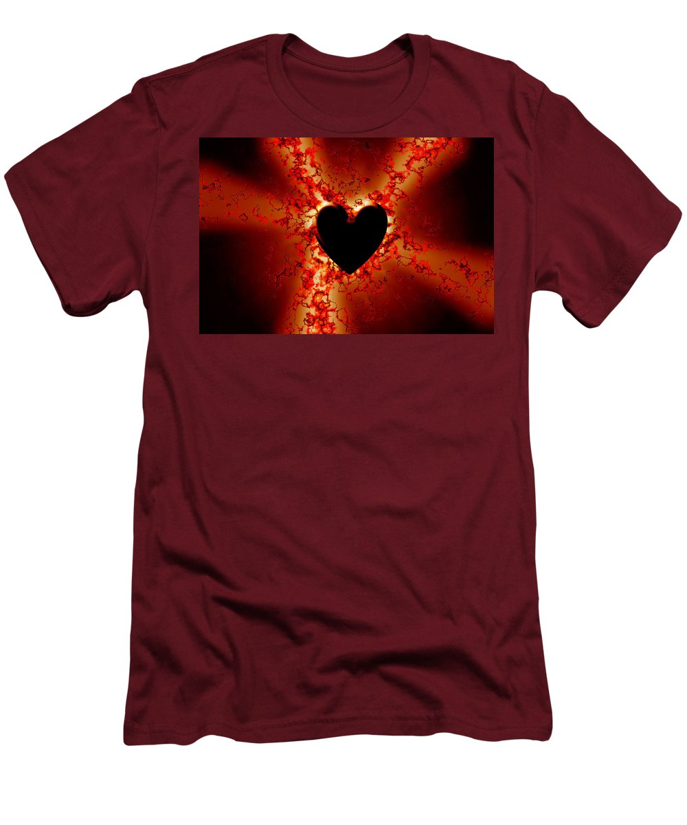 Grunge Men's T-Shirt (Athletic Fit) featuring the digital art Grunge Heart by Phill Petrovic