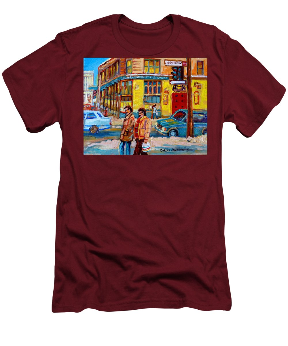 Downtown Montreal Men's T-Shirt (Athletic Fit) featuring the painting Henry Birks On St Catherine Street by Carole Spandau