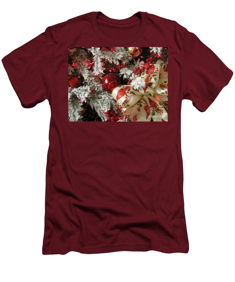 Tree Men's T-Shirt (Athletic Fit) featuring the photograph Holiday Cheer I by Maria Bonnier-Perez