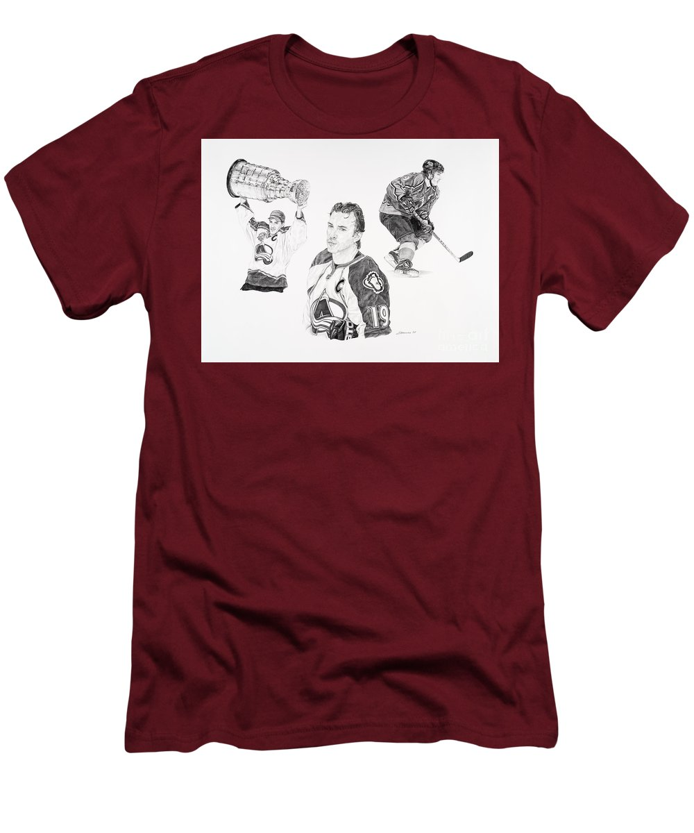 Hockey Men's T-Shirt (Athletic Fit) featuring the drawing Joe Sakic by Shawn Stallings