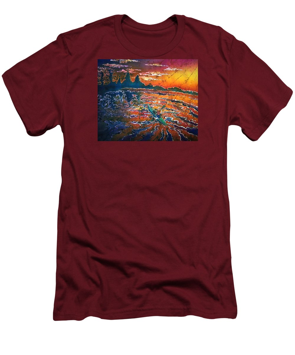 Kayak Men's T-Shirt (Athletic Fit) featuring the painting Kayak Serenity by Sue Duda