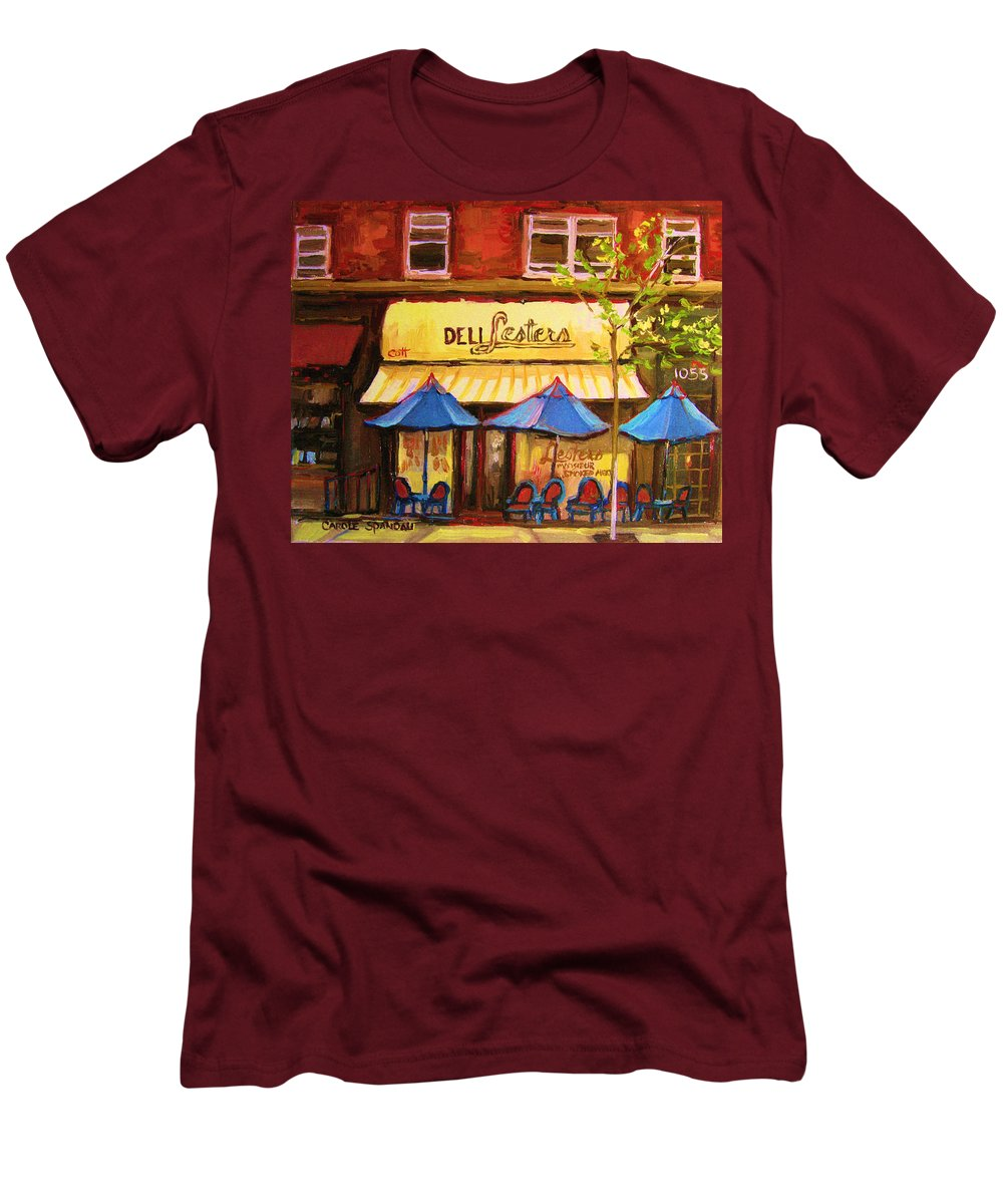 Lesters Deli Men's T-Shirt (Athletic Fit) featuring the painting Lesters Cafe by Carole Spandau