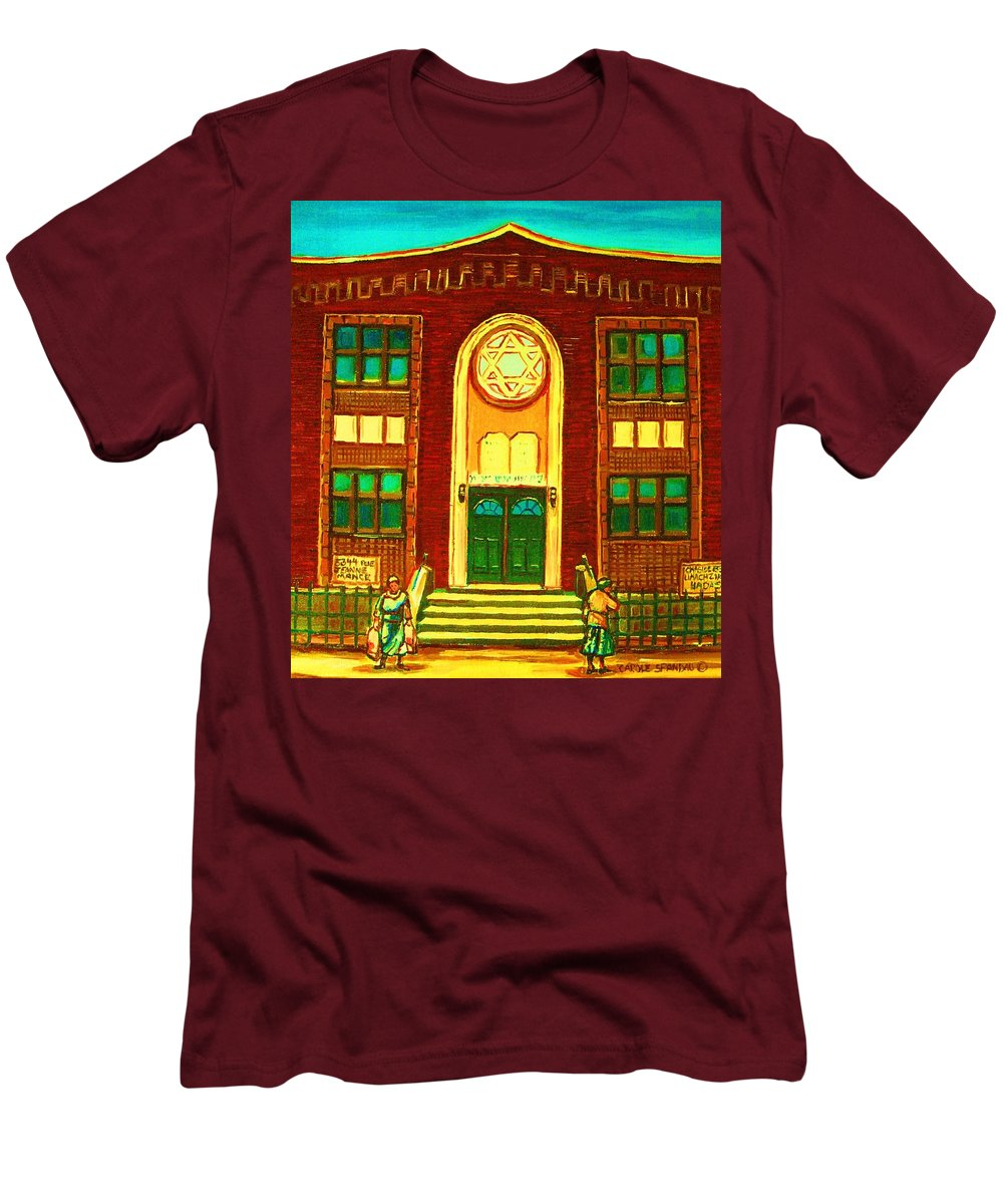 Judaica Men's T-Shirt (Athletic Fit) featuring the painting Lubavitch Synagogue by Carole Spandau