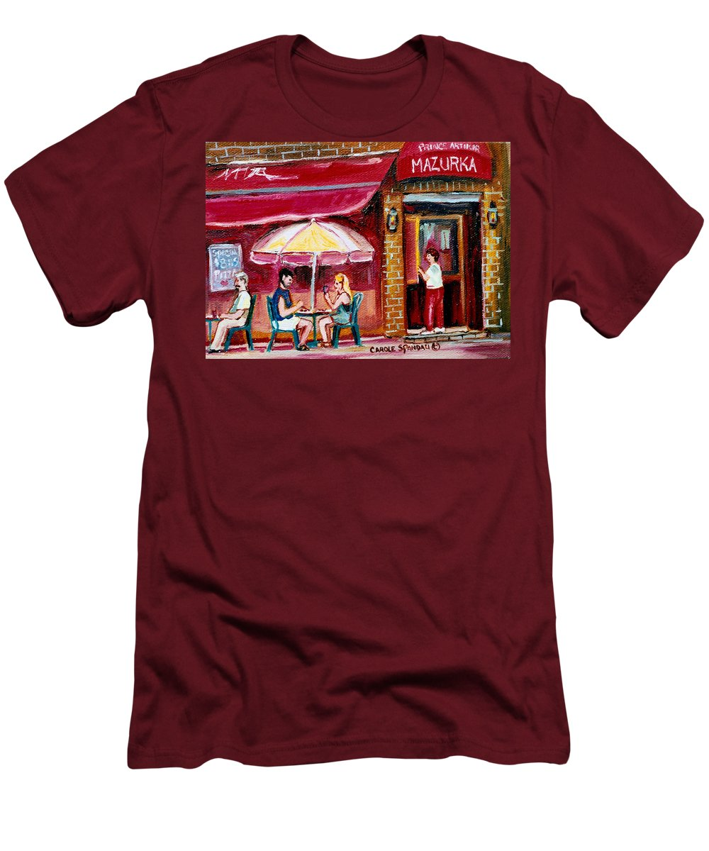 Mazurka Restaurant Men's T-Shirt (Athletic Fit) featuring the painting Lunch At The Mazurka by Carole Spandau