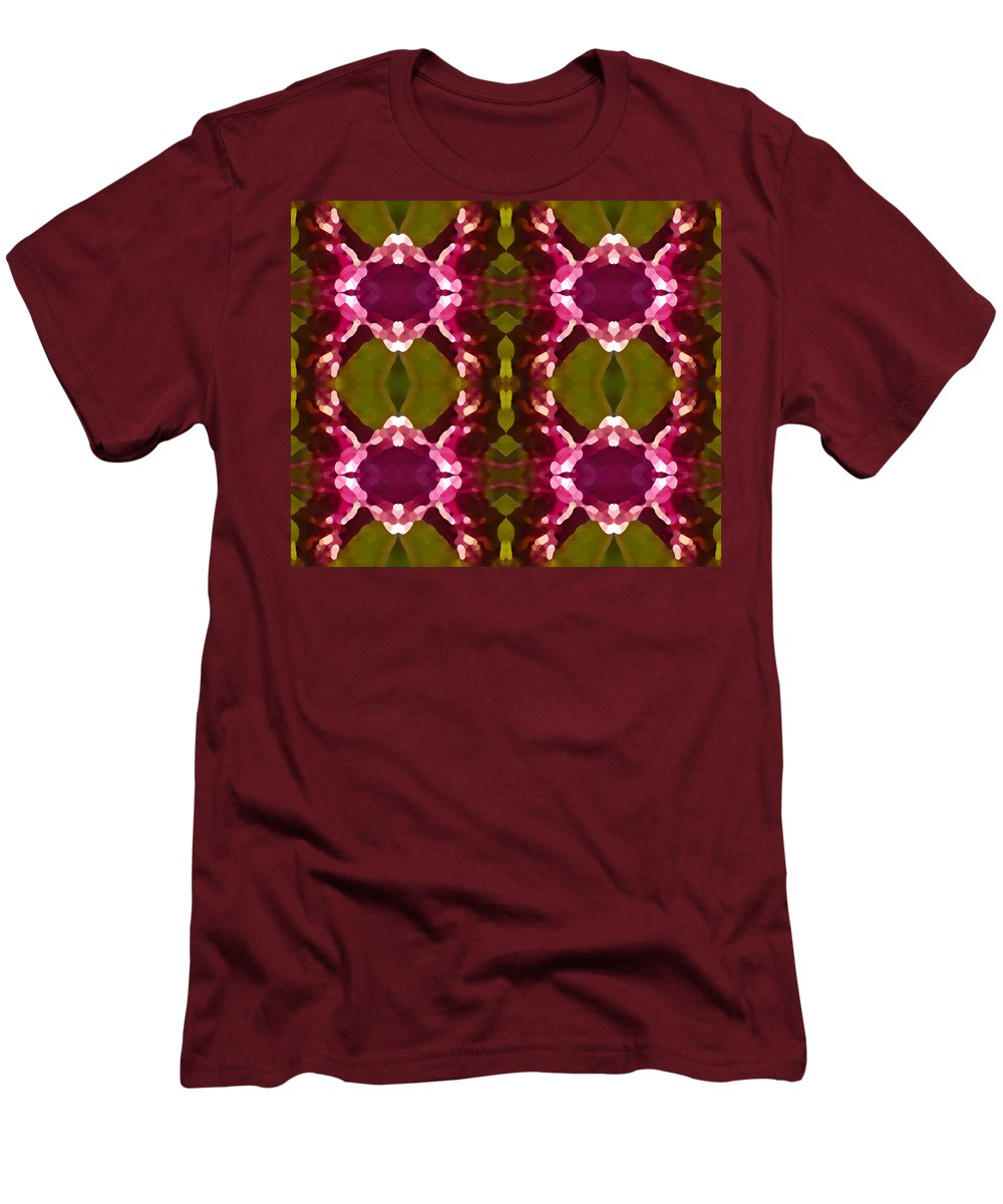 Abstract Painting Men's T-Shirt (Athletic Fit) featuring the digital art Magenta Crystals Pattern 2 by Amy Vangsgard