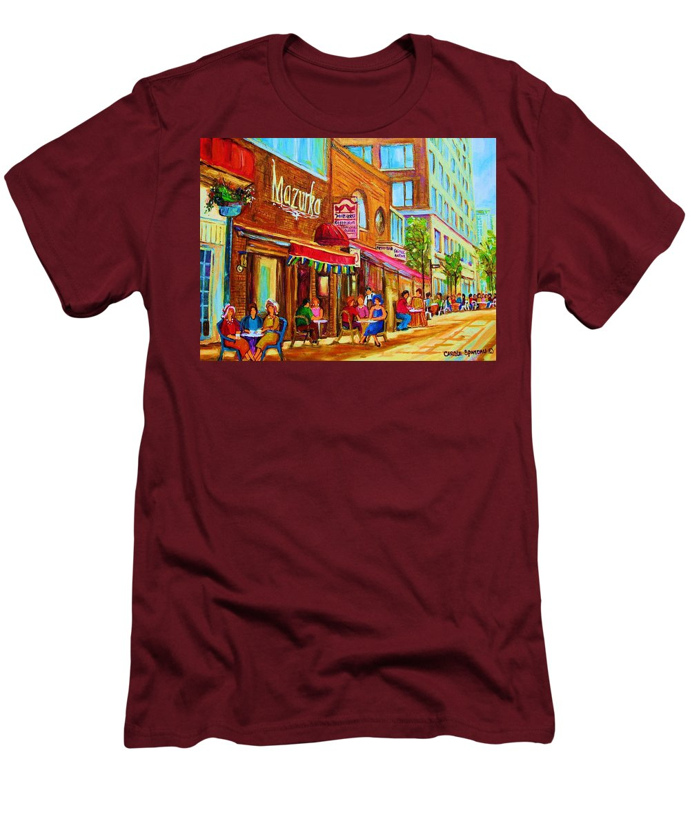 Montreal Streetscene Men's T-Shirt (Athletic Fit) featuring the painting Mazurka Cafe by Carole Spandau