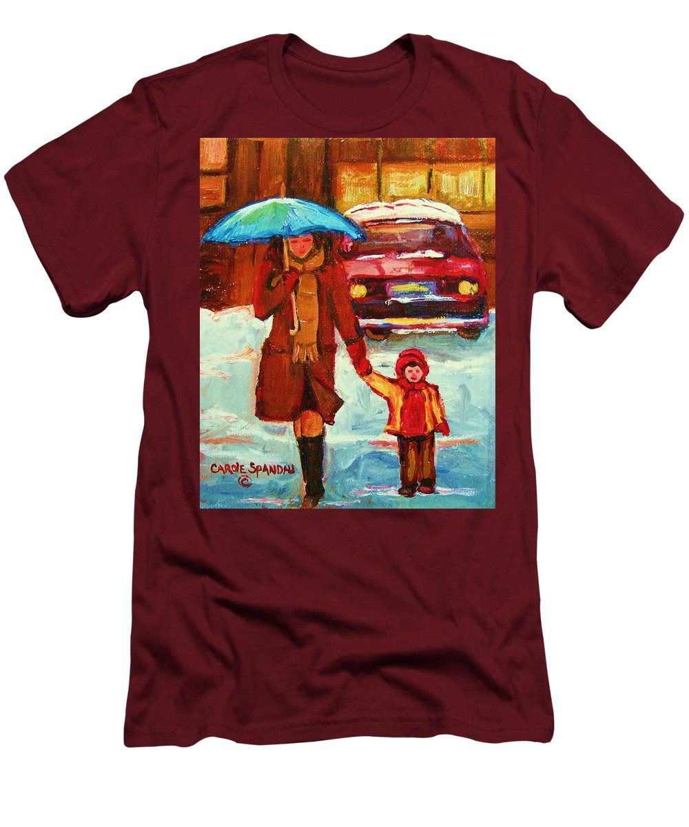 Montreal Men's T-Shirt (Athletic Fit) featuring the painting Moms Blue Umbrella by Carole Spandau