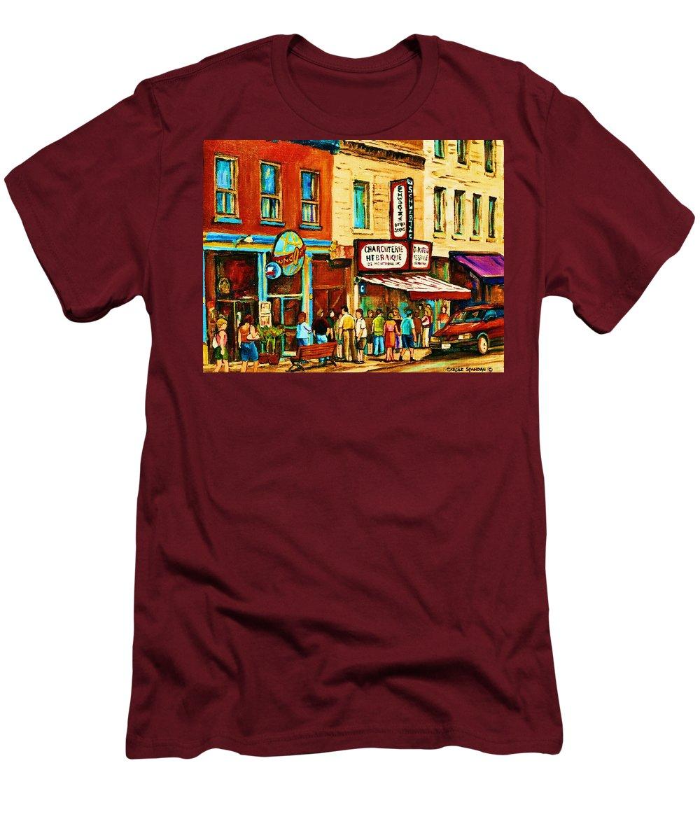 Montreal Men's T-Shirt (Athletic Fit) featuring the painting Montreal Streetscene Artist Carole Spandau Paints Schwartzs Main Street Hustle Bustle by Carole Spandau
