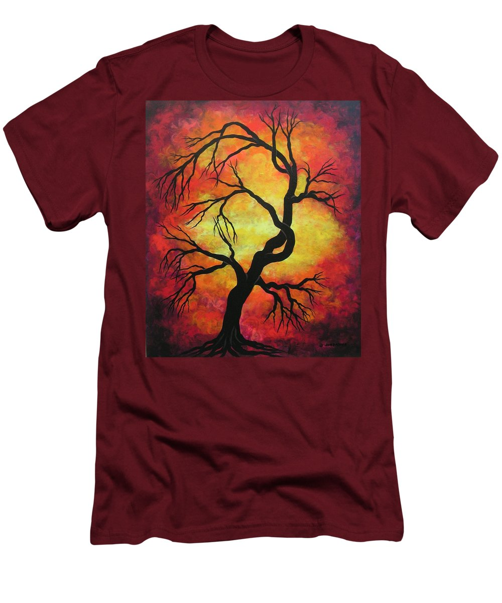 Acrylic Men's T-Shirt (Athletic Fit) featuring the painting Mystic Firestorm by Jordanka Yaretz