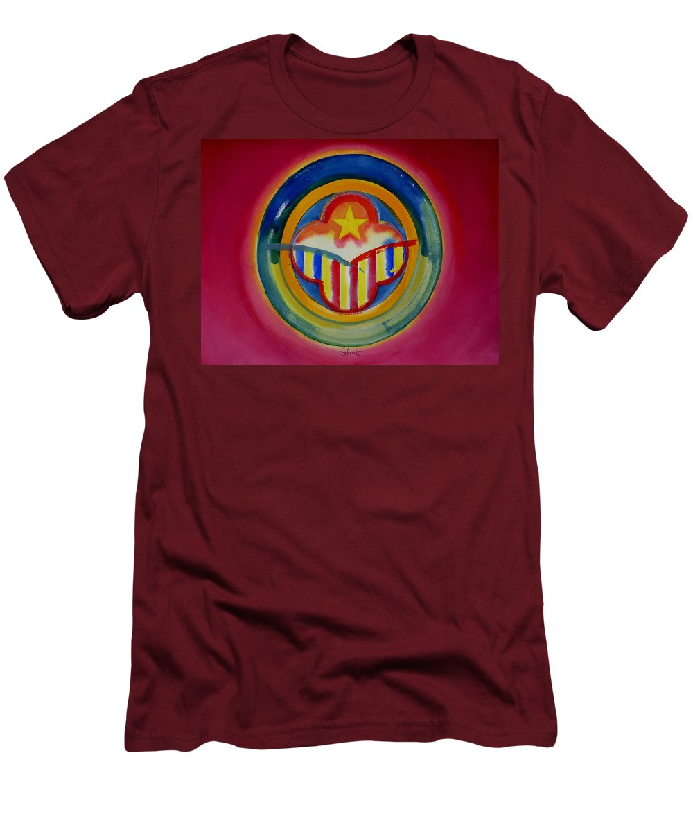 Button Men's T-Shirt (Athletic Fit) featuring the painting Native American by Charles Stuart