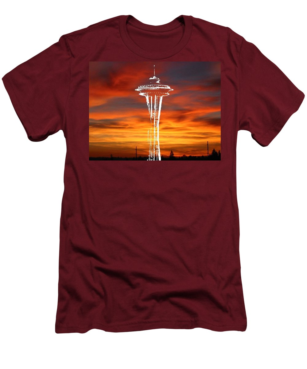 Seattle Men's T-Shirt (Athletic Fit) featuring the digital art Needle Silhouette by Tim Allen