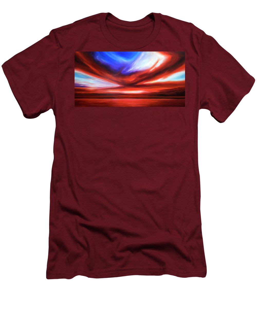 Sunrise; Sunset; Power; Glory; Cloudscape; Skyscape; Purple; Red; Blue; Stunning; Landscape; James C. Hill; James Christopher Hill; Jameshillgallery.com; Ocean; Lakes; Storm; Tornado; Lightning Men's T-Shirt (Athletic Fit) featuring the painting October Sky V by James Christopher Hill