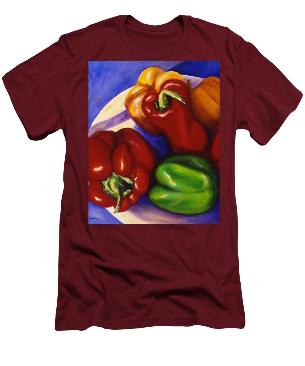 Still Life Peppers Men's T-Shirt (Athletic Fit) featuring the painting Peppers In The Round by Shannon Grissom