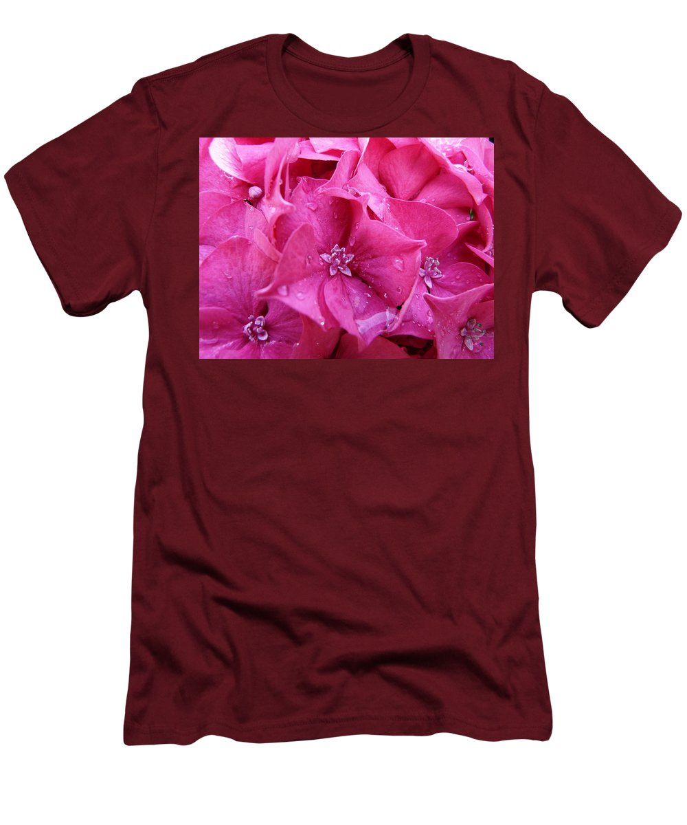Flower Men's T-Shirt (Athletic Fit) featuring the photograph Pink Hydrangea After Rain by Valerie Ornstein