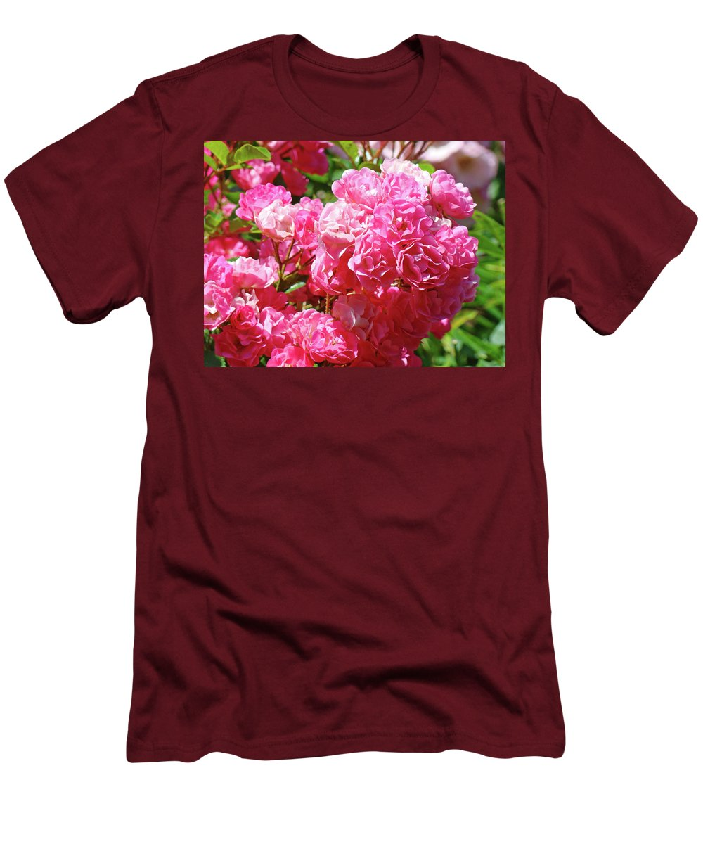 Rose Men's T-Shirt (Athletic Fit) featuring the photograph Pink Roses Summer Rose Garden Roses Giclee Art Prints Baslee Troutman by Baslee Troutman