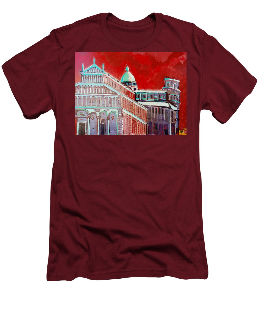 Pisa Men's T-Shirt (Athletic Fit) featuring the painting Pisa by Kurt Hausmann