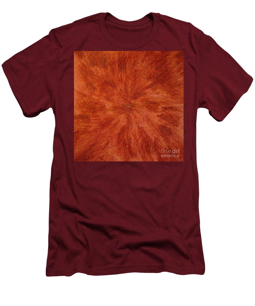 Abstract Men's T-Shirt (Athletic Fit) featuring the painting Radiation With Brown Yellow And Voilet by Dean Triolo