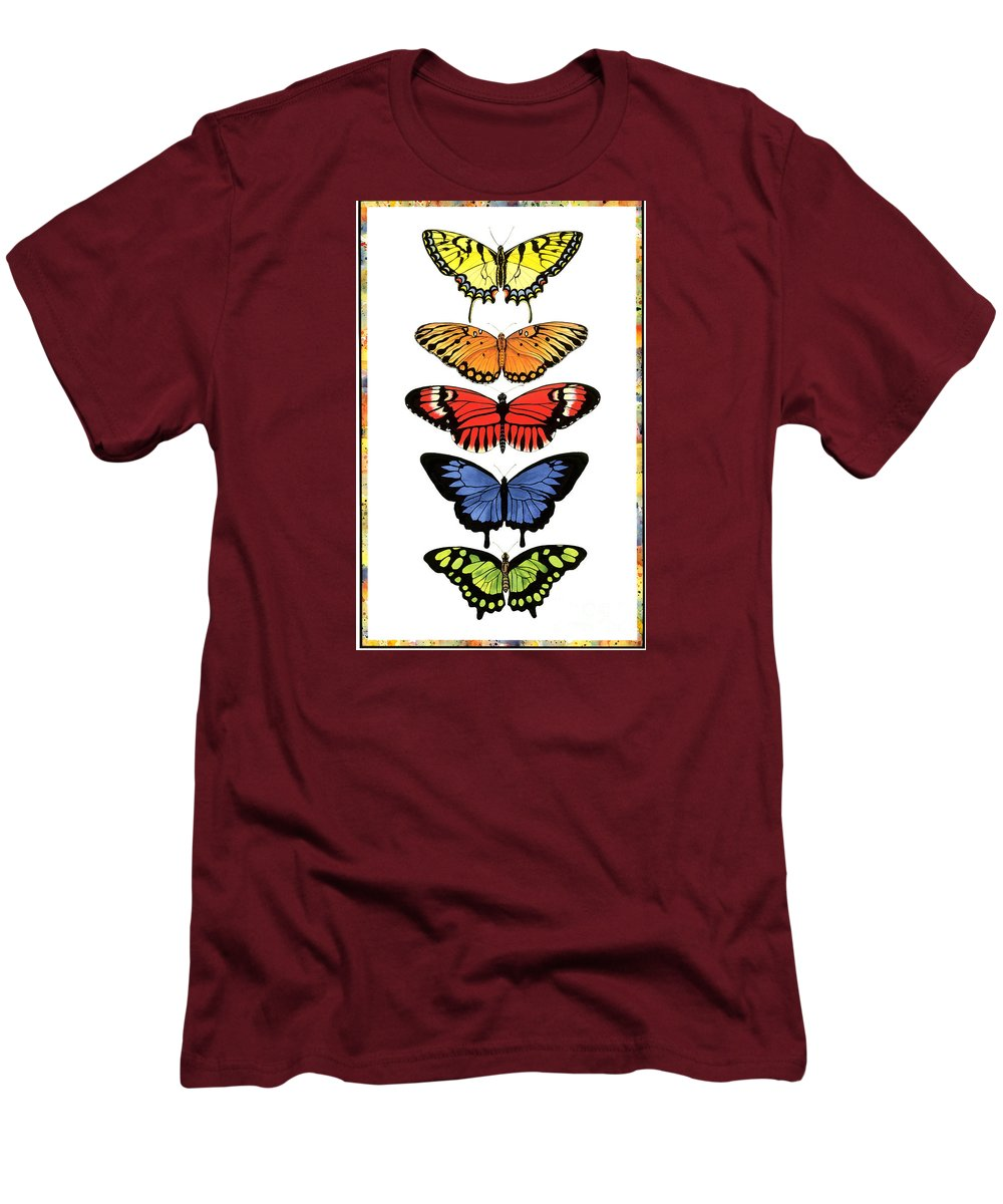 Butterflies Men's T-Shirt (Athletic Fit) featuring the painting Rainbow Butterflies by Lucy Arnold