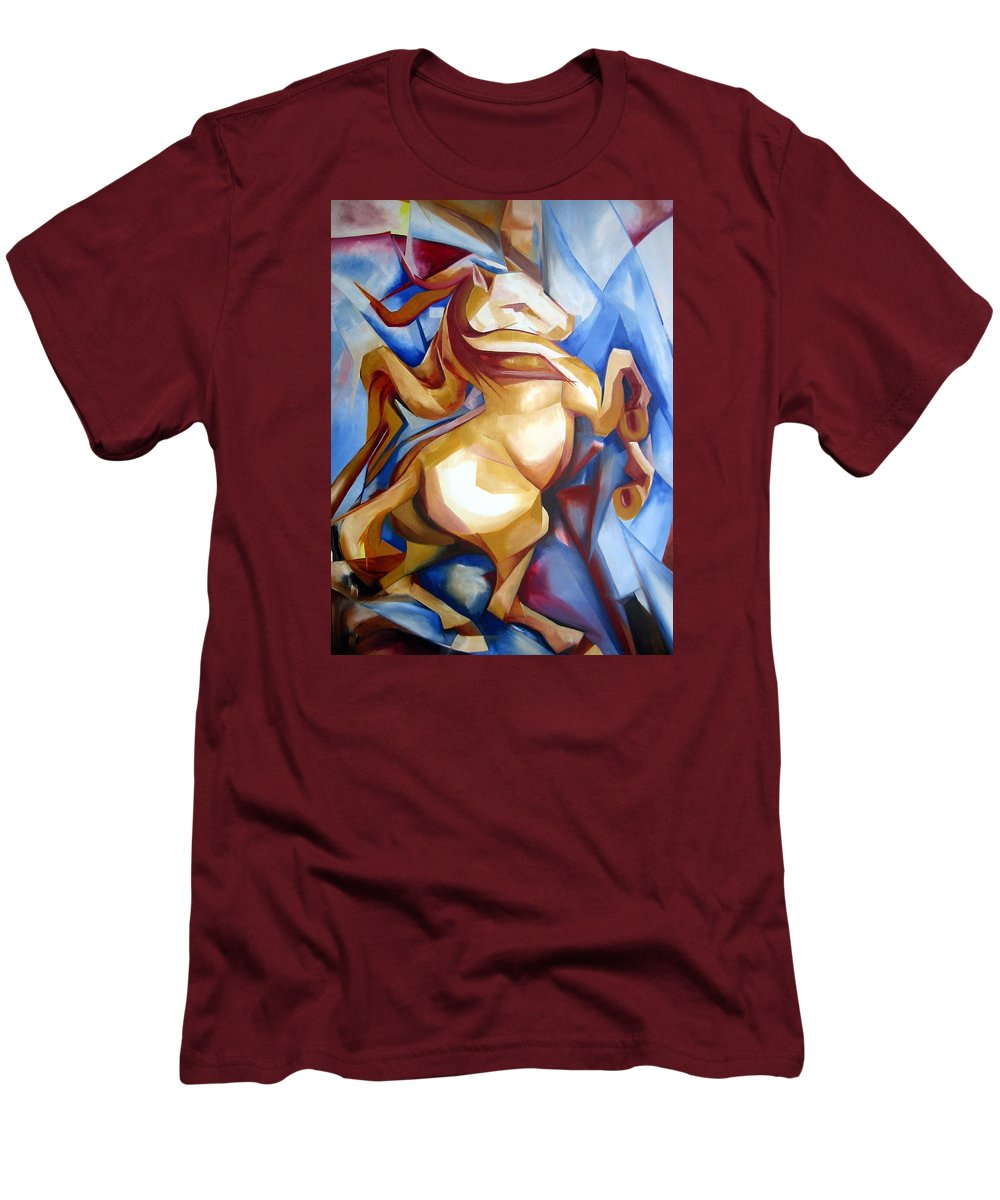 Horse Men's T-Shirt (Athletic Fit) featuring the painting Rearing Horse by Leyla Munteanu