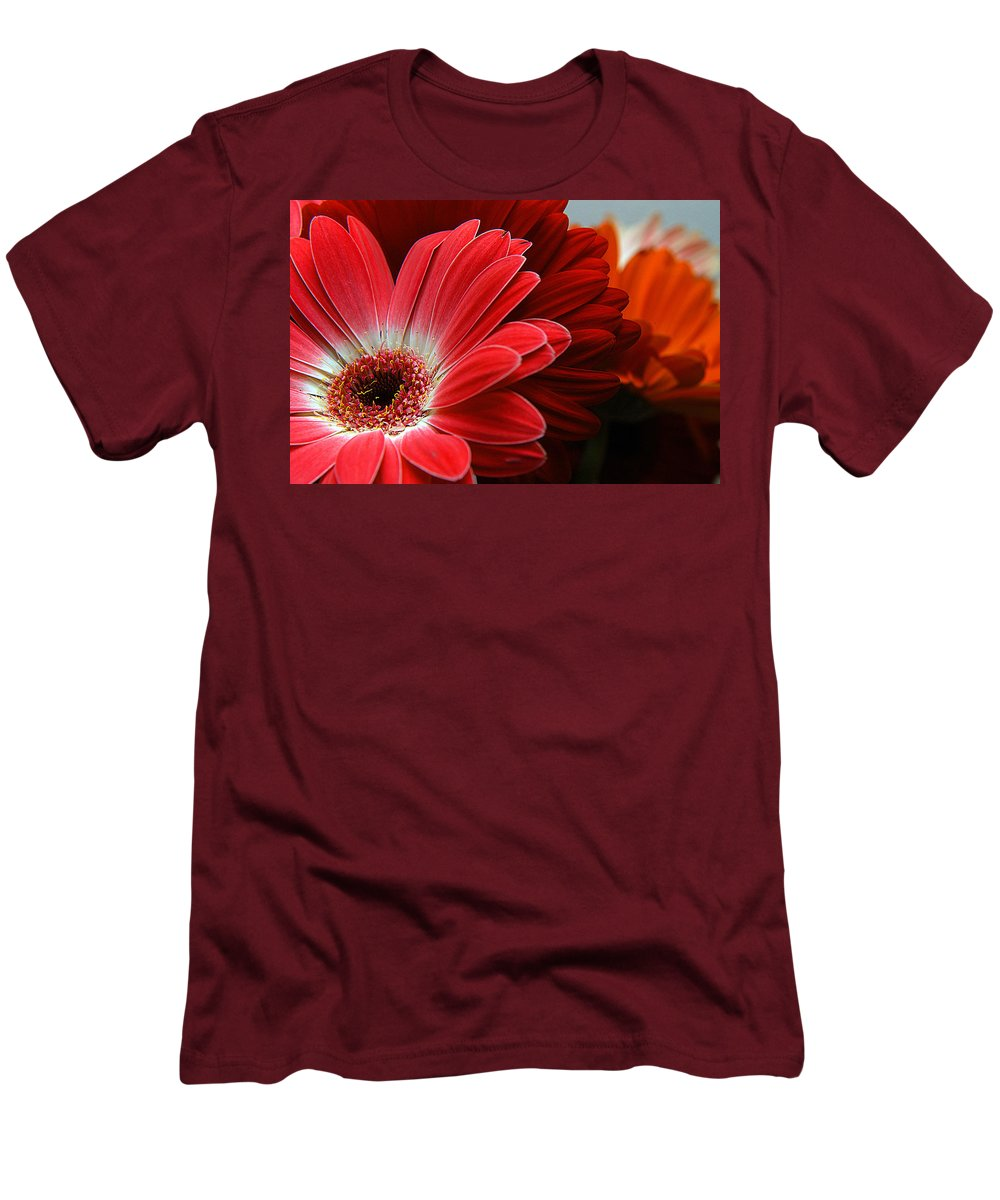 Clay Men's T-Shirt (Athletic Fit) featuring the photograph Red And Orange Florals by Clayton Bruster