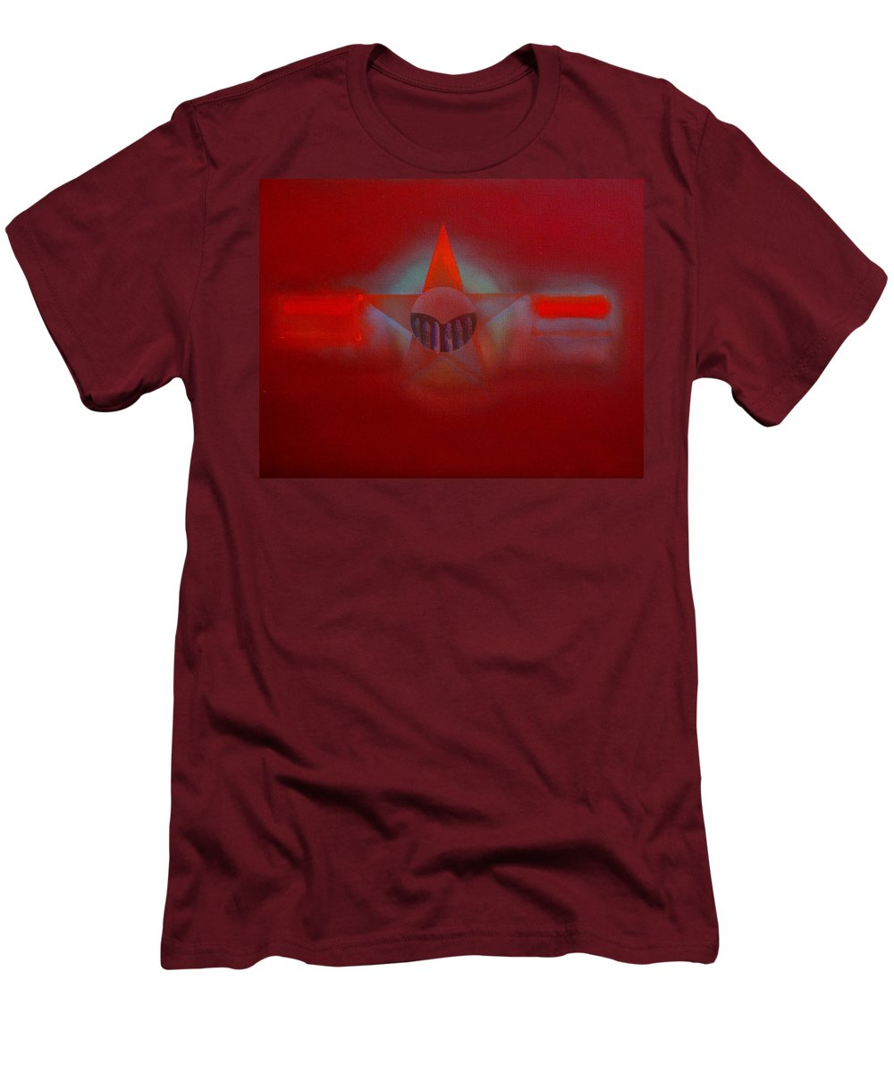 Usaaf Insignia And Idealised Landscape In Union Men's T-Shirt (Athletic Fit) featuring the painting Red Dawn by Charles Stuart