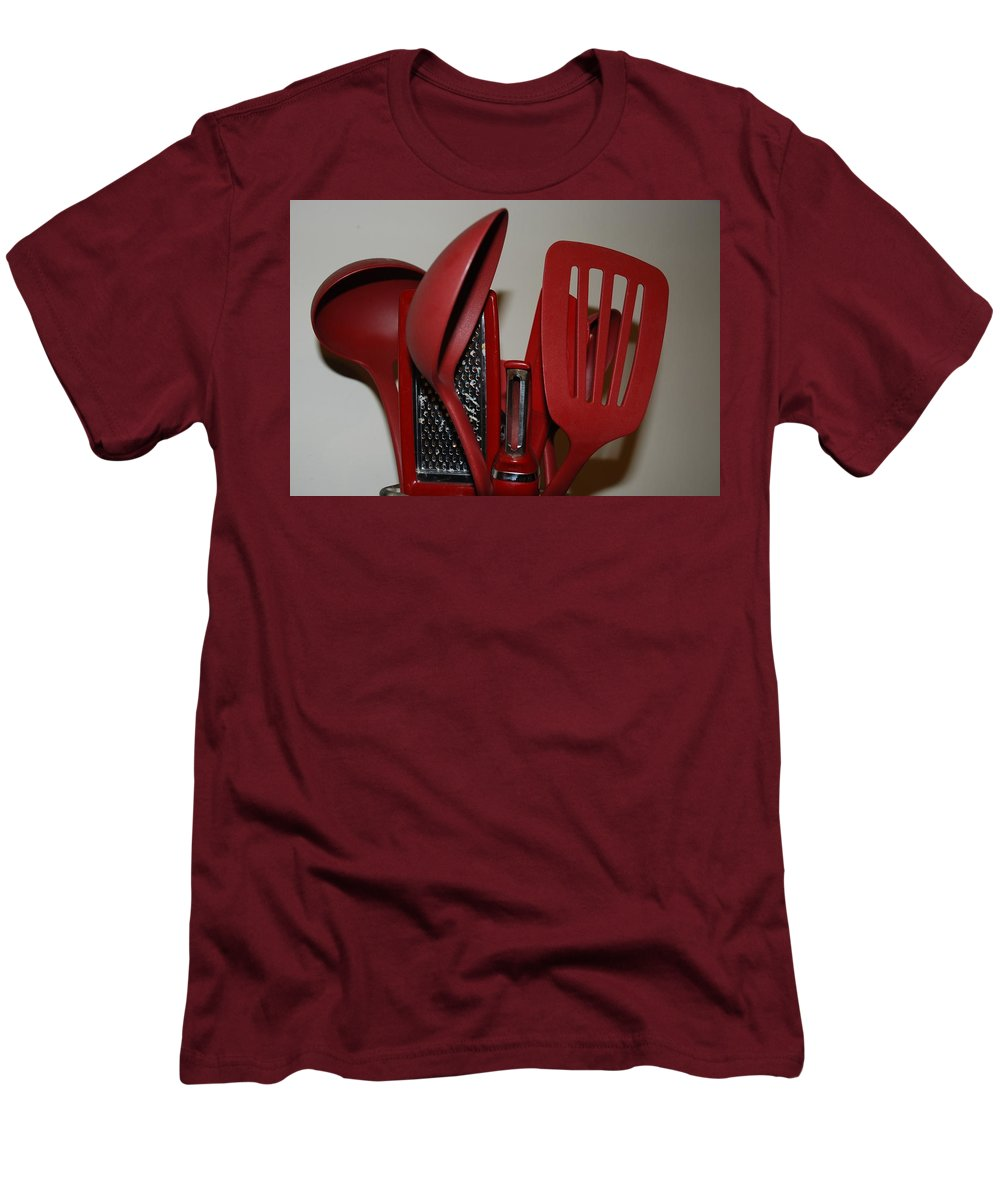 Utencils Men's T-Shirt (Athletic Fit) featuring the photograph Red Kitchen Utencils by Rob Hans