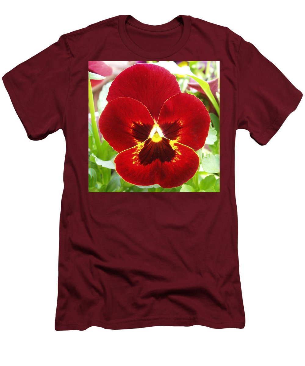 Red Men's T-Shirt (Athletic Fit) featuring the photograph Red Pansy by Nancy Mueller