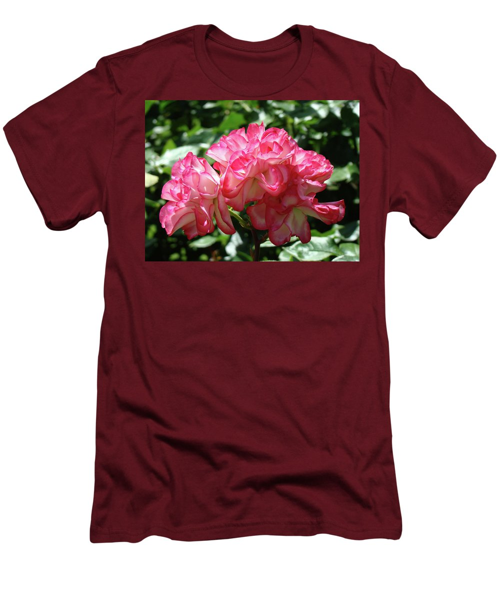 Rose Men's T-Shirt (Athletic Fit) featuring the photograph Roses Bouquet Pink White Rose Flowers 2 Rose Garden Baslee Troutman by Baslee Troutman