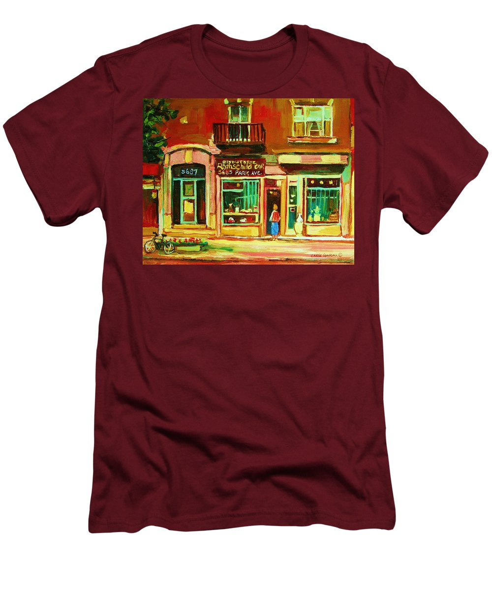 Montreal Men's T-Shirt (Athletic Fit) featuring the painting Rothchilds Jewellers On Park Avenue by Carole Spandau