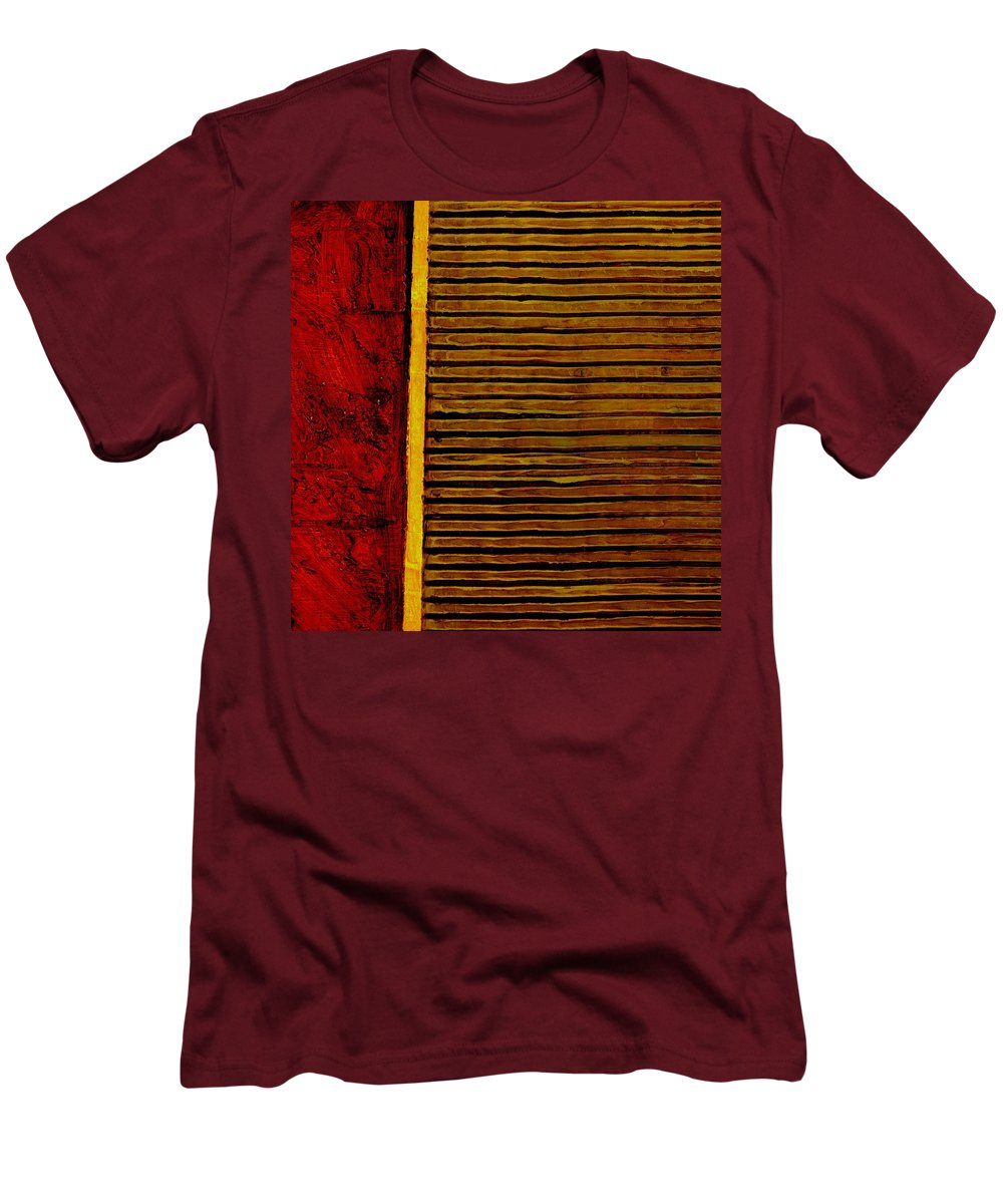 Rustic Men's T-Shirt (Athletic Fit) featuring the painting Rustic Abstract One by Michelle Calkins