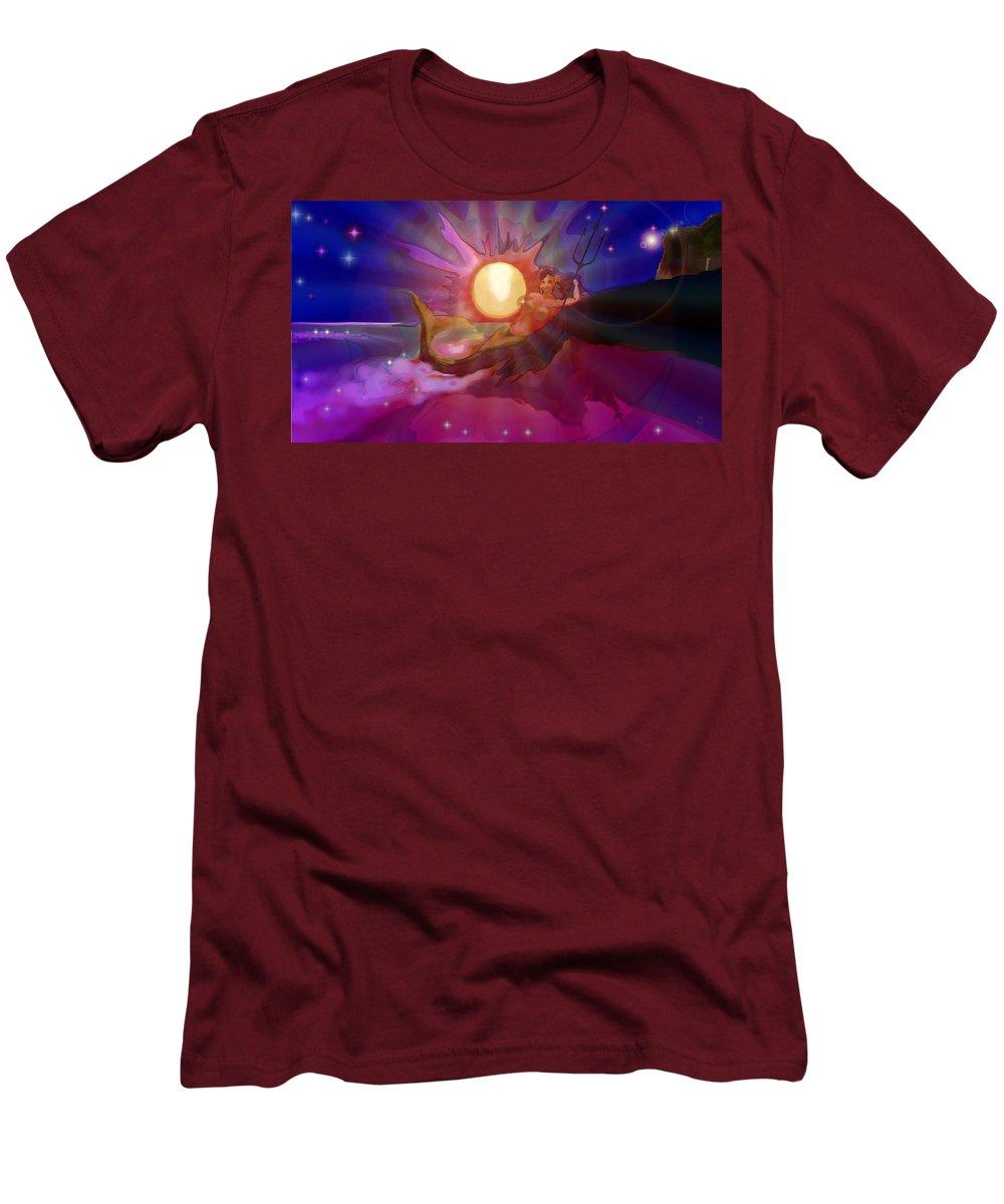 Sera Men's T-Shirt (Athletic Fit) featuring the digital art Sera Maroon by Mark Kleinschnitz
