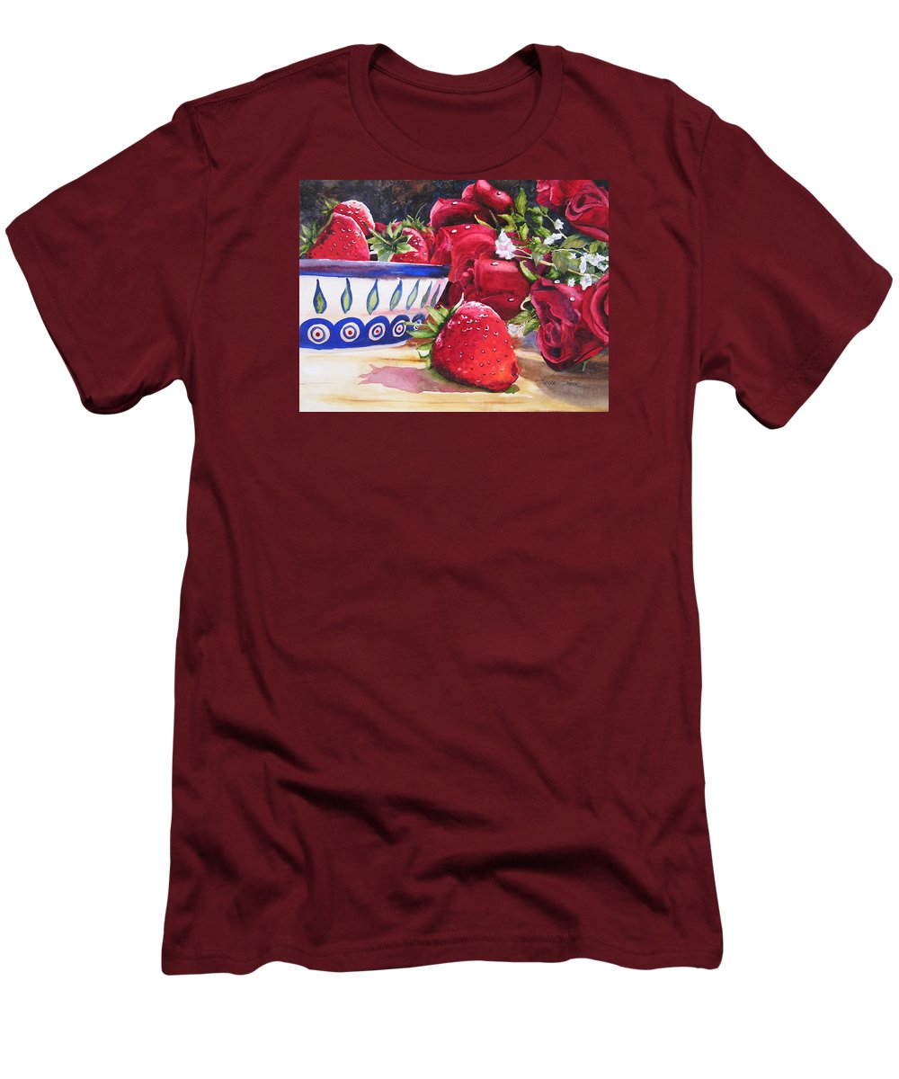 Strawberries Men's T-Shirt (Athletic Fit) featuring the painting Strawberries And Roses by Karen Stark
