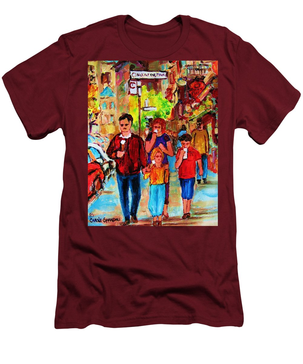 Montreal Streetscenes Men's T-Shirt (Athletic Fit) featuring the painting Summer In The City by Carole Spandau