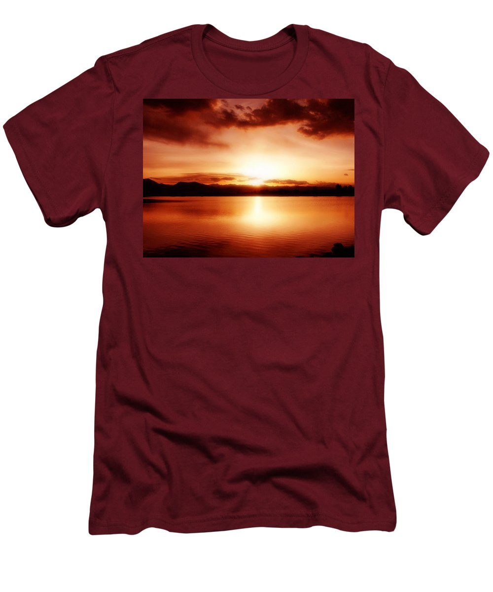 Lake Men's T-Shirt (Athletic Fit) featuring the photograph Sunset by Marilyn Hunt