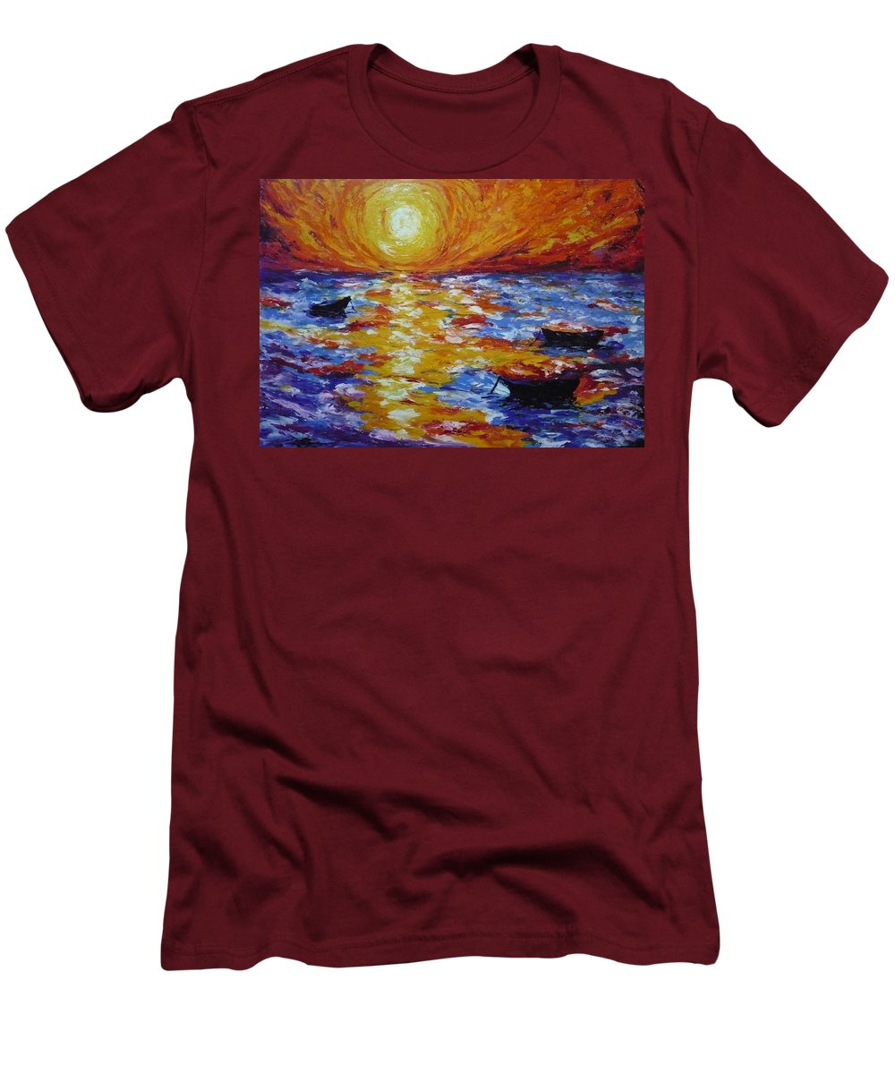 Landscape Men's T-Shirt (Athletic Fit) featuring the painting Sunset With Three Boats by Ericka Herazo