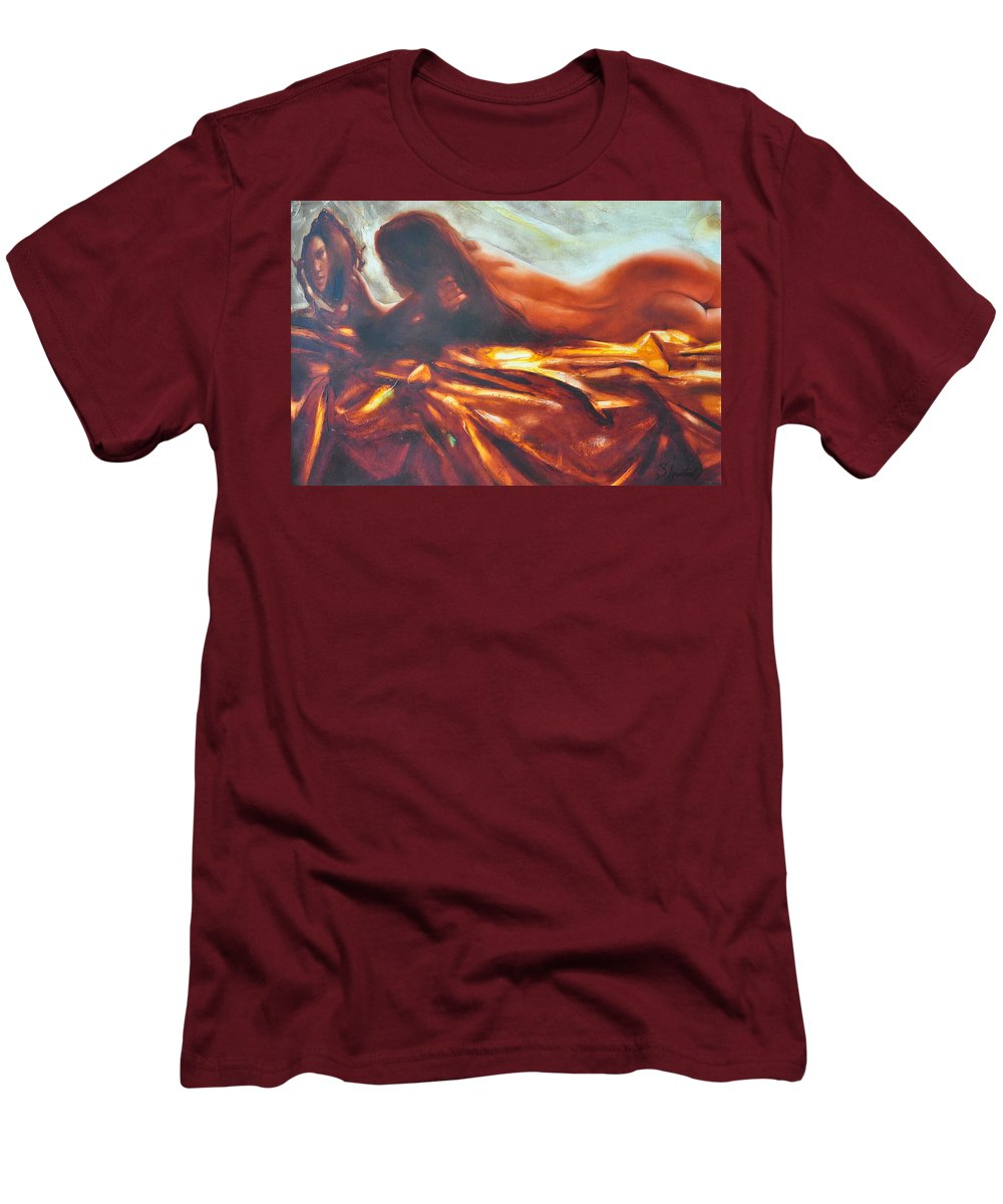 Painting Men's T-Shirt (Athletic Fit) featuring the painting The Amber Speck Of Light by Sergey Ignatenko