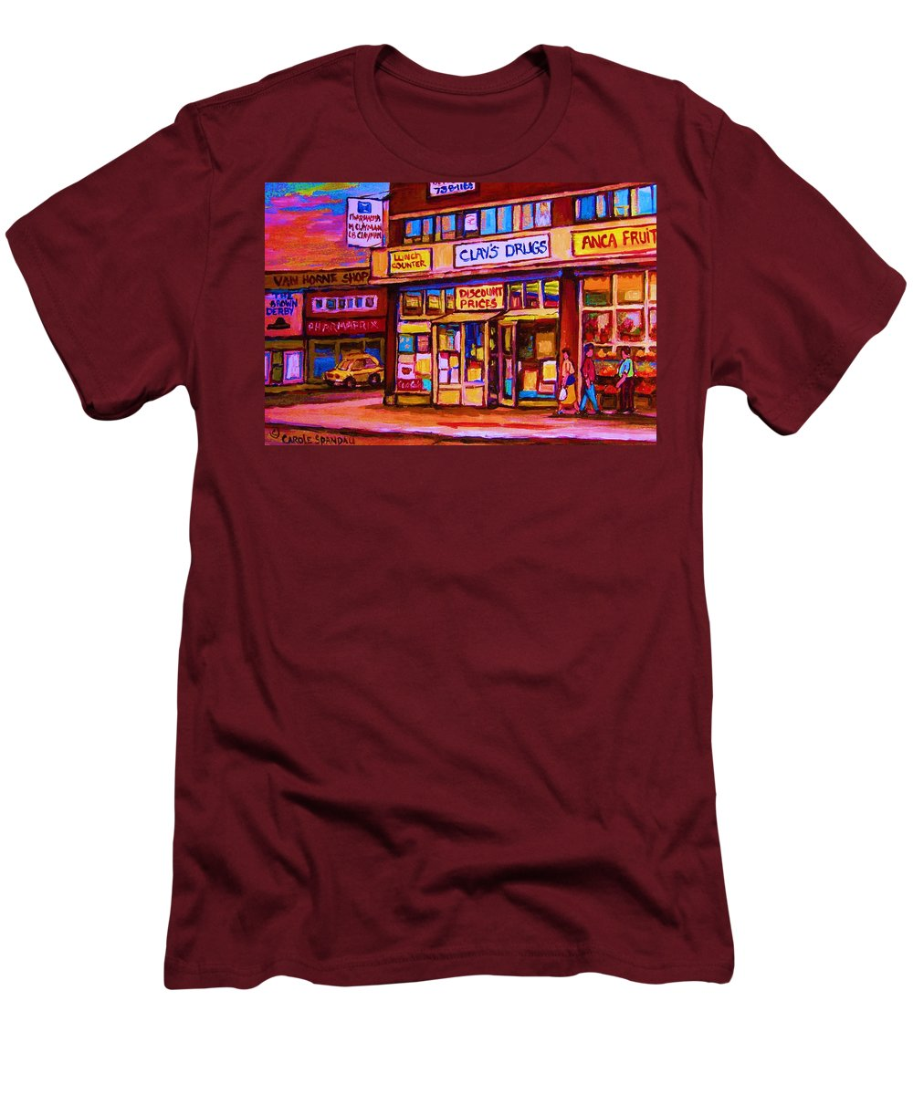 Montreal Men's T-Shirt (Athletic Fit) featuring the painting The Brown Derby by Carole Spandau