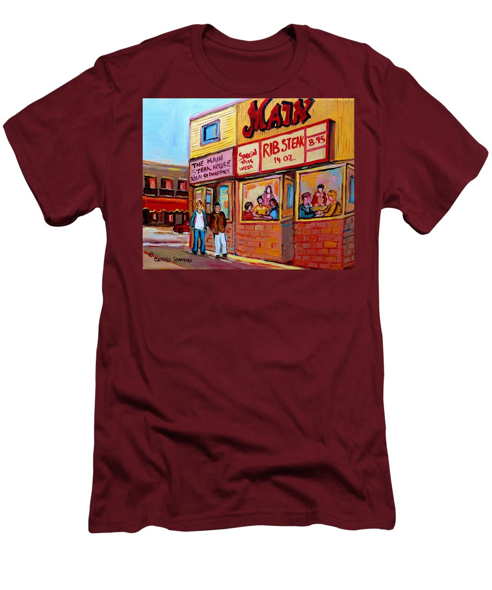 The Main Steakhouse Men's T-Shirt (Athletic Fit) featuring the painting The Main Steakhouse On St. Lawrence by Carole Spandau