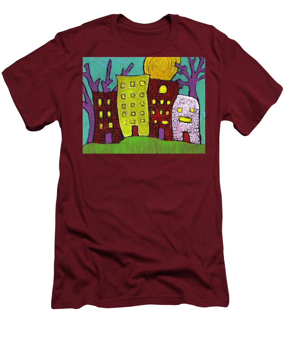 Buildings Men's T-Shirt (Athletic Fit) featuring the painting The Old Neighborhood by Wayne Potrafka
