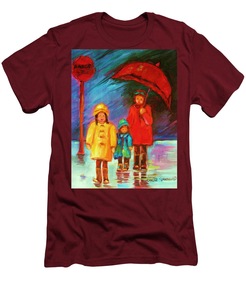 Rainy Day Men's T-Shirt (Athletic Fit) featuring the painting The Red Umbrella by Carole Spandau