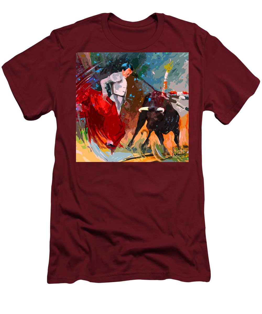 Bullfight Men's T-Shirt (Athletic Fit) featuring the painting Toroscape 05 by Miki De Goodaboom