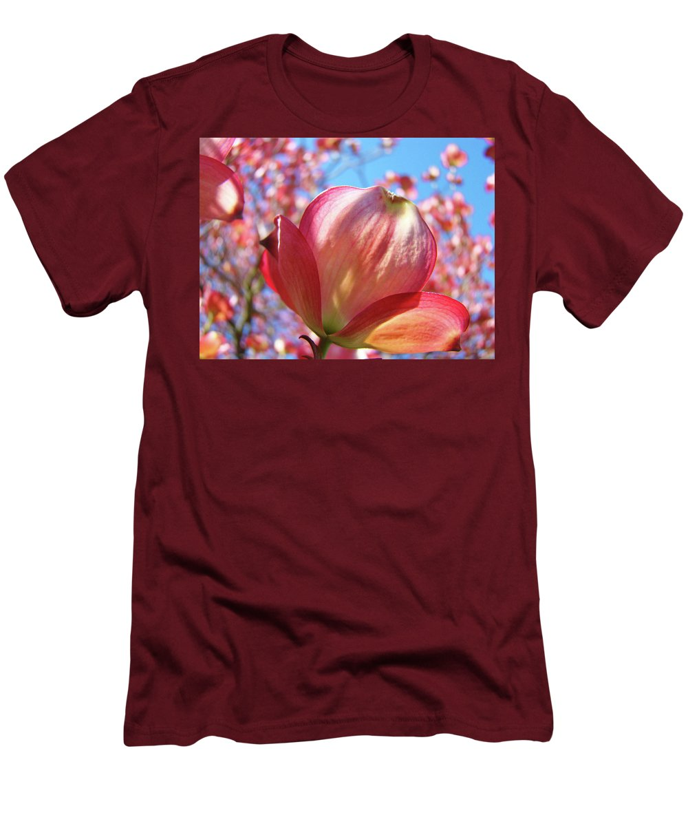 Dogwood Men's T-Shirt (Athletic Fit) featuring the photograph Tree Flowers Pink Dogwood Flowers 5 Dogwood Trees Art Blue Sky Baslee Troutman by Baslee Troutman