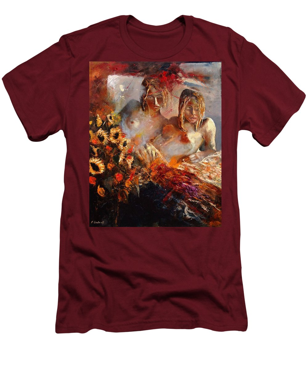 Girl Nude Men's T-Shirt (Athletic Fit) featuring the painting Two Friends by Pol Ledent
