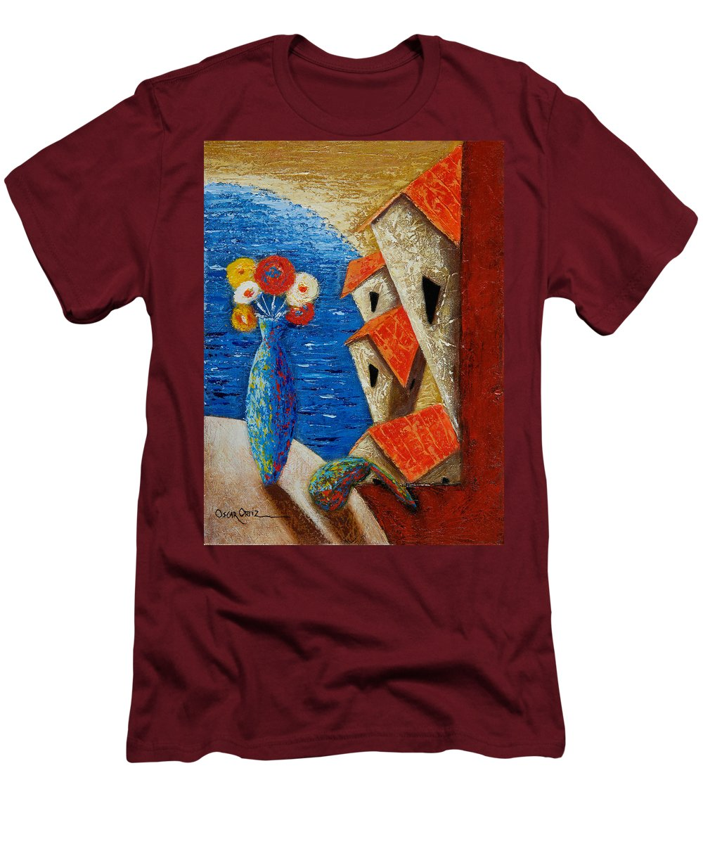 Landscape Men's T-Shirt (Slim Fit) featuring the painting Ventana Al Mar by Oscar Ortiz