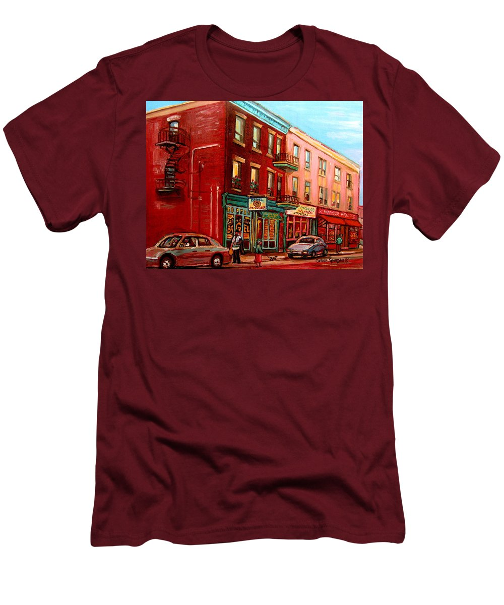 St Viateur Bagel Shop Montreal Street Scenes Men's T-Shirt (Athletic Fit) featuring the painting Vintage Montreal by Carole Spandau